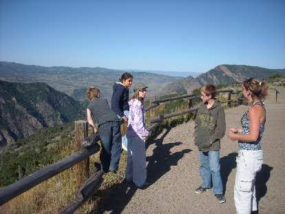 Tanya and the kids at an overlook on the way to Curecanti.