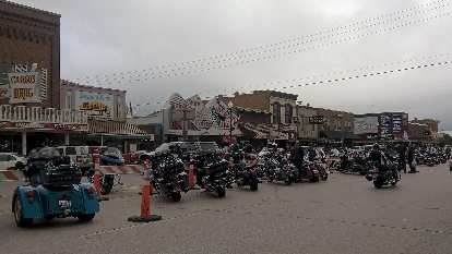 Motorcycles in downtown Custer.