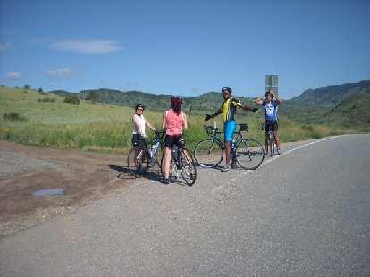 "From Raquel's Courage Classic ""Spokeback Mountain"" team: Kristen, Cecilia, Greg, and Jason."