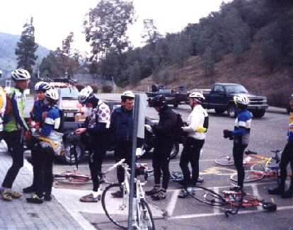 At a rest stop in the 1999 Davis 200k Brevet.