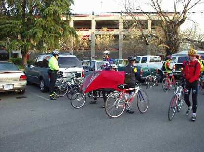 Mile 0, 6:45 a.m.: Gathering for a mass start, here is part of the small recumbent contingent.