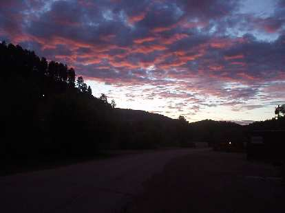 The sky just after 5:00 a.m. featured amazing cloud formations.  What a beautiful area!
