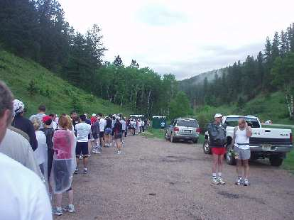 Now at Rochford -- the start of the race -- at 6:24 a.m., there was a long line for the port-a-potties.