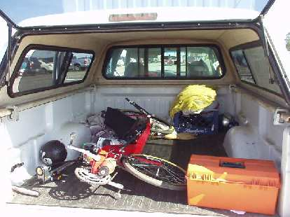 The recumbent just fit in the bed of the Ford F-150, and the friendly SBC volunteer and I had a nice talk back to the start of the ride.  Well, there's always next year...