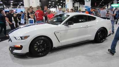 white 2016 Mustang Shelby GT350 prototype, 2015 Denver Auto Show