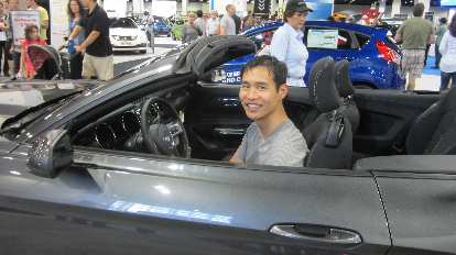 Felix Wong, grey 2015 Ford Mustang convertible