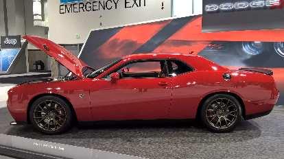Red 2016 Dodge Challenger Hellcat.