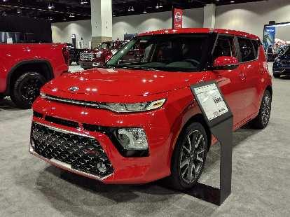 A red 2020 Kia Soul (third generation).