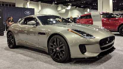 A silver Jaguar F-Type.