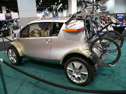 The Jeep Treo concept car could easily carry two bicycles without aftermarket attachments.