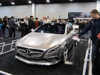 "The Mercedes 2014 CLA concept looked like it was ""billeted out of a big chunk of aluminum,"" said one show-goer."
