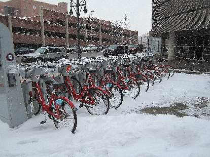 Denver's City Bike share program had no takers today.