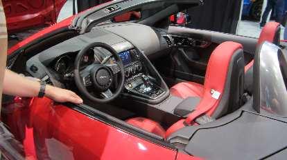The interior of a 2014 Jaguar F-Type.