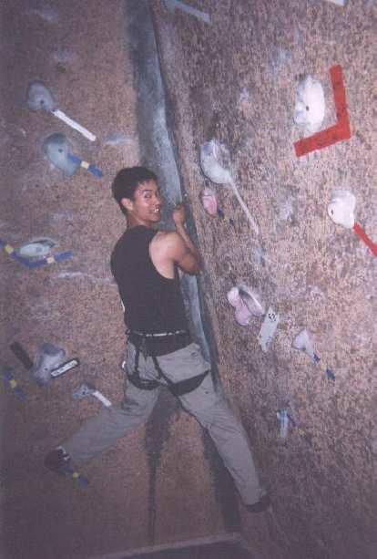 [Denver] Felix Wong messing around on a crack climb.