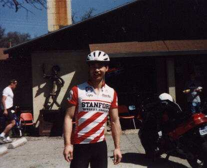 Felix Wong, Stanford cycling jersey, lunch stop, 1999 Devil Mountain Double Century.