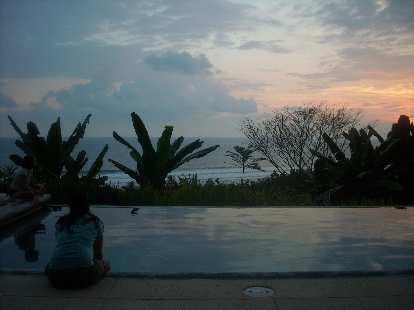 Tori enjoying a nice sunset by the pool.