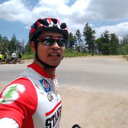 Felix Wong at the top of Rist Canyon for the first time during his Double Rist Canyon ride.