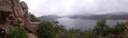 Panoramic view of Duncan's Rock and the Horsetooth Reservoir below.