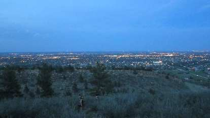 The lights of Fort Collins at dusk.