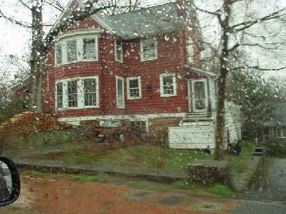 red house, rain, Durham, North Carolina,