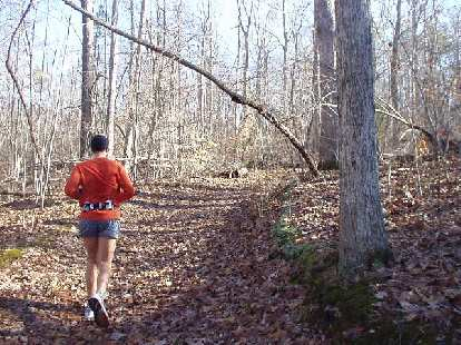 Running through the woods in Durham was very peaceful.