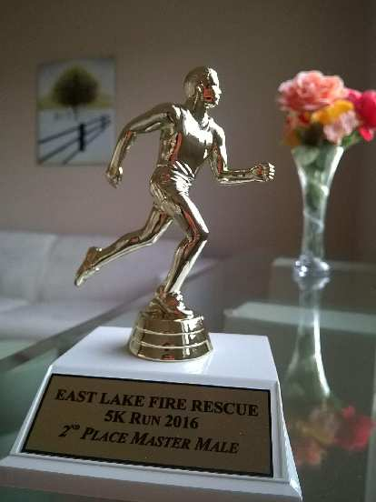 The trophy for 2nd place in the masters division was shipped to me a few months after the race.