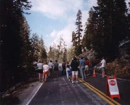 road closed, Yosemite, Highway 120, people standing around