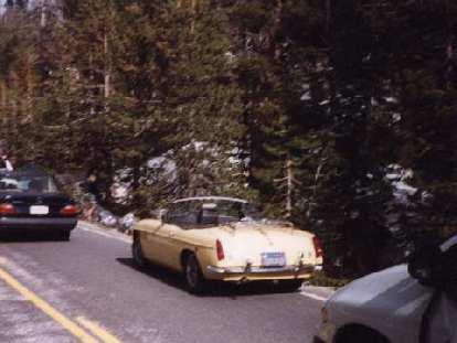yellow MGB roadster, Highway 120, Yosemite