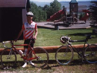 Felix Wong, second checkpoint, 1998 Eastern Sierra Double Century, Stanford jersey, bicycles