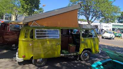 A bright green 1960s VW Bus.