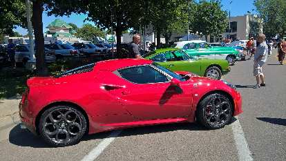 A red 2016 Alfa Romeo 4c.