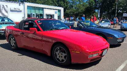A red 1989 Porsche 944 S4 Convertible, one of 16 imported to the United States.