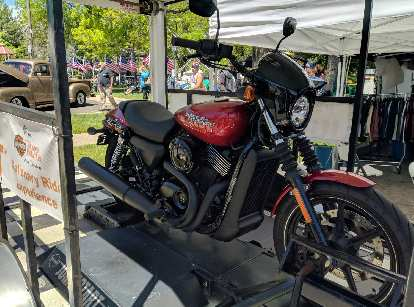 A red H-D Street 750 on hand as part of the Thunder Mountain Harley-Davidson's Stationary Ride Experience at the Realities Ride & Rally.