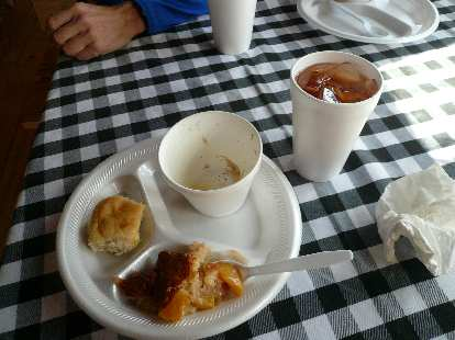 At the finish we were served biscuits, chicken and dumplings, apple cinnamon tea and dessert.