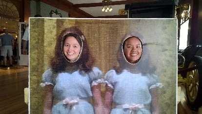 Maureen and Venus behind a cardboard cutout inside the Stanley Hotel.