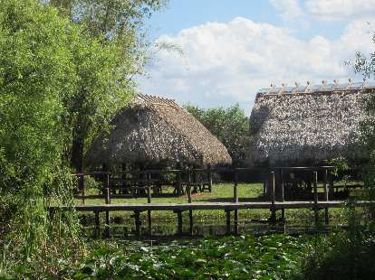 Huts that some of the Native Americans lived in.