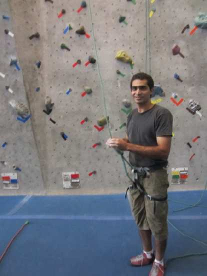 Mehdi about to climb inside the Inner Strength rock gym.  This was the last time I'd got to climb with him indoors.