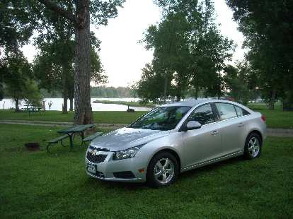 I was really impressed by my Chevrolet Cruze rental car, which was very Audi-like and high quality both on the inside and out.  Here it is at Rock Creek State Park, Iowa.