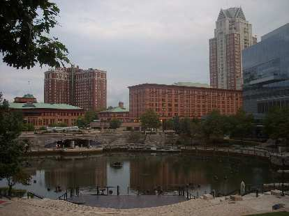 Waterfire, an award-winning sculpture by Barnaby Evans on the rivers of downtown Providence.