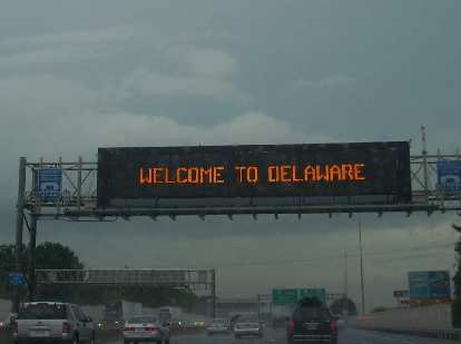 Driving from Connecticut to Washington, D.C. took almost 10 hours due to bad traffic and rain.  Here's traffic in Delaware...