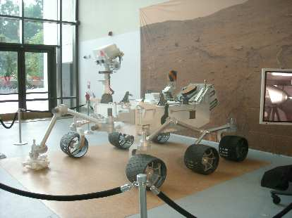 A model of NASA's land rover that will be deployed on Mars later in 2011.  This was at the Smithsonian National Air & Space Museum.