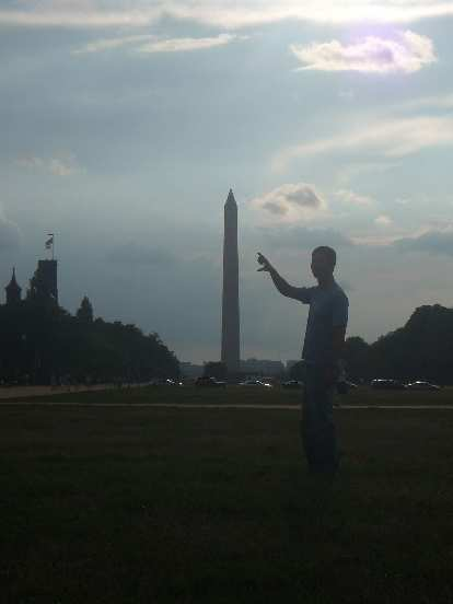 The Washington Monument a week before sustaining damage in a 5.8 earthquake.