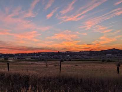 [Mile 9.1, 5:54 a.m.] Nice sunrise in Fort Collins.