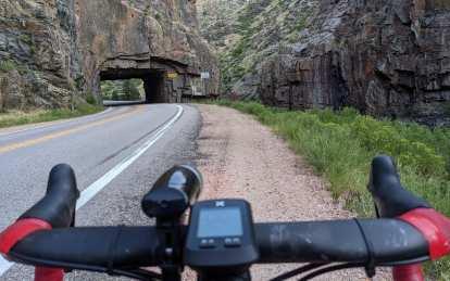 Poudre Canyon, Baldwin Tunnel, bicycle handlebars with bike light and cycle computer
