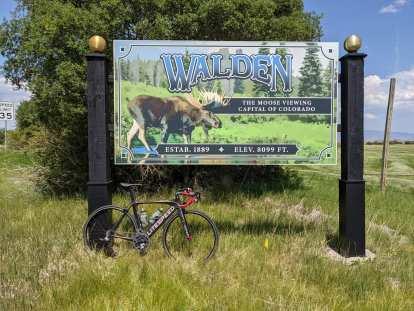 """new Walden, Colorado sign: """"The moose viewing capital of Colorado"""""""