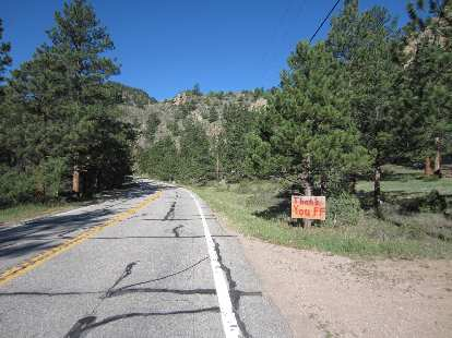 """Thank you firefighters"" sign in the Poudre Canyon."