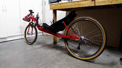 [Mile 0] The recumbent all set to go for its first serious ride in well over eight years.