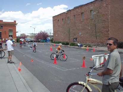 A bicycle obstacle course.