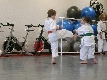 Kids doing Karate.