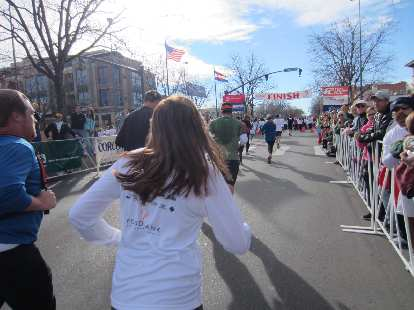 Running with Kelly into the finish.